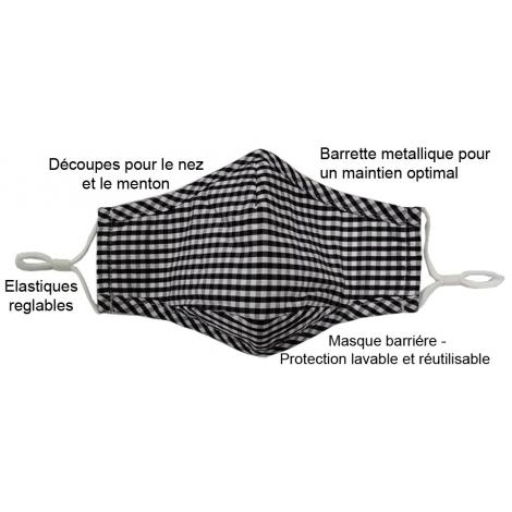 Lot de 5 Masques barrière en tissu lavable et réutilisable